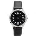 Sekonda 3285 Elegant Gents Black Dial Leather Strap Stainless Watch